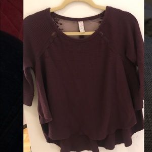 Free People Burgundy thermal/waffle material top
